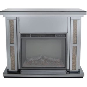 Deco Home Naro Smoked Copper Mirrored Fire Surround With Electric Fire, Smoked Copper and Mirrored