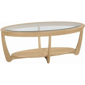 Nathan Furniture Nathan Shades Oak Oval Coffee Table With Glass Top