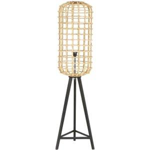 Light & Living Noah Rattan Brown Natural Wood Large Floor Lamp, Brown