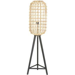 Light & Living Noah Rattan Brown Natural Wood Medium Floor Lamp, Brown