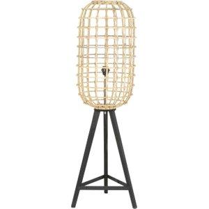 Light & Living Noah Rattan Brown Natural Wood Small Floor Lamp, Brown