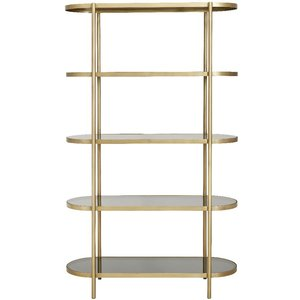 Nordal Luxury Gold And Black Glass Oval Bookcase, Gold and Black Glass