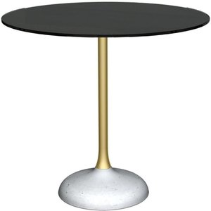 Space London Notting Black Glass Top And Brass Column 80cm Round Dining Table With Concrete Base, Black Glass and Brass Brushed with Concrete