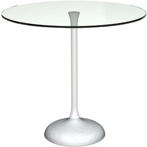 Space London Notting Clear Glass Top And White Gloss Column 80cm Round Dining Table Concrete Base, Clear Glass and White Gloss Lacquer and Concrete
