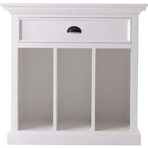Nova Solo Halifax Grand White Bedside Table With Dividers, White Semi-Gloss Paint with a Smooth Top Coat
