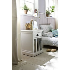 Nova Solo Halifax White Bedside Table With Dividers, White Semi-Gloss Paint with a Smooth Top Coat