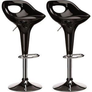 Premier Housewares Nueva Black Plastic Bar Chair (pair), Black