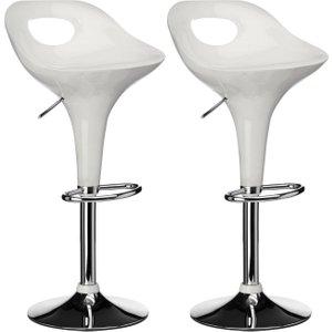 Premier Housewares Nueva White Plastic Bar Chair (pair), White