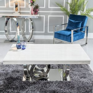 Orbit Coffee Table - Cream Marble And Stainless Steel Chrome - Urban Deco