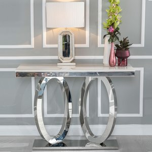 Orbit Console Table - Cream Marble And Stainless Steel Chrome - Urban Deco Cfsud 582