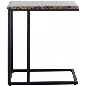 Richmond Interiors Orion Brown Emparador Marble Sofa Side Table, Brown and Black