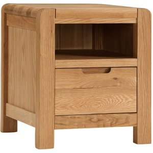 Classic Furniture Oslo Oak Bedside Cabinet, Light Oak Stain and Satin Lacquered