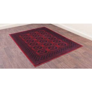 Prestige Collection Oushak Afghan Red Luxury Polyester Rug, Afghan Red