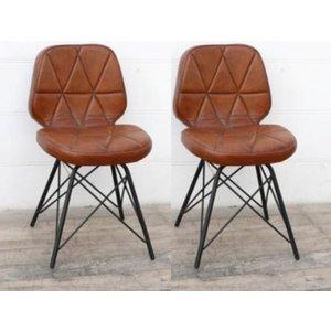 Besp Oak Padded Geometric Leather Dining Chair (pair)