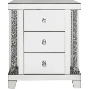 Deco Home Palma Mirrored Bedside Cabinet, Mirrored