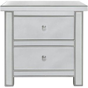 Deco Home Paolo Mirrored Bedside Cabinet, Mirrored