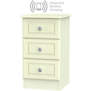 Welcome Furniture Pembroke Cream 3 Drawer Bedside Cabinet With Integrated Wireless Charging, Cream