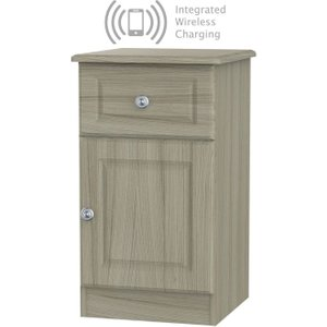 Welcome Furniture Pembroke Driftwood 1 Door 1 Drawer Bedside Cabinet With Integrated Wireless Charging