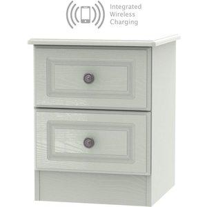Welcome Furniture Pembroke Kaschmir Ash 2 Drawer Bedside Cabinet With Integrated Wireless Charging, Kaschmir Ash