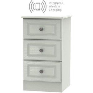 Welcome Furniture Pembroke Kaschmir Ash 3 Drawer Bedside Cabinet With Integrated Wireless Charging, Kaschmir Ash