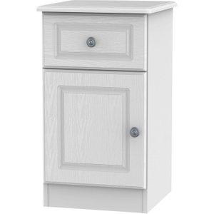 Welcome Furniture Pembroke White 1 Door 1 Drawer Bedside Cabinet Left Hand Side, White