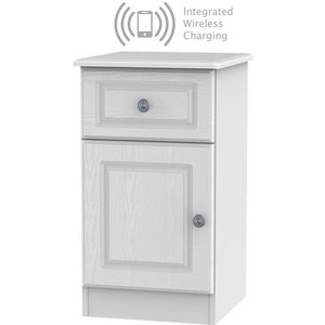 Welcome Furniture Pembroke White 1 Door 1 Drawer Bedside Cabinet With Integrated Wireless Charging Left Hand, White