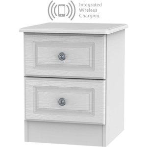 Welcome Furniture Pembroke White 2 Drawer Bedside Cabinet With Integrated Wireless Charging, White