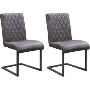 The Oak House Pergo Industrial Grey Leather Dining Chair (pair), Grey