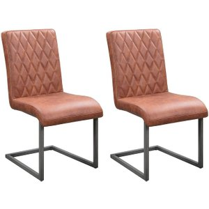 The Oak House Pergo Industrial Tan Leather Dining Chair (pair)
