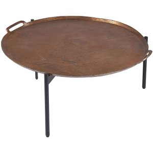 House Brands Plano Round Vintage Copper Top Small Coffee Table