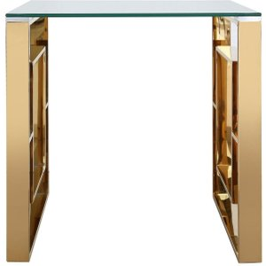 Deco Home Platini End Table - Glass And Gold, Gold