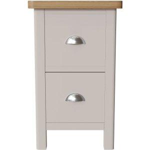Scuttle Interiors Portland Narrow Bedside Cabinet - Oak And Dove Grey Painted, Dove Grey Painted