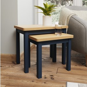Essentials By Scuttle Interiors Portland Oak And Blue Painted Nest Of 2 Tables, Oak and Blue Painted