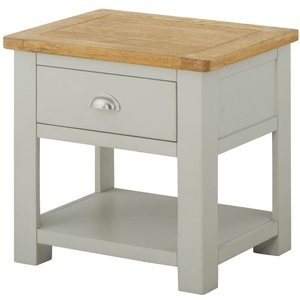 Classic Furniture Portland Stone Painted 1 Drawer Lamp Table
