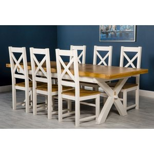 Furniture Now Portland White Painted Cross Leg Extending Dining Table And 6 Chairs, White Painted and Oak