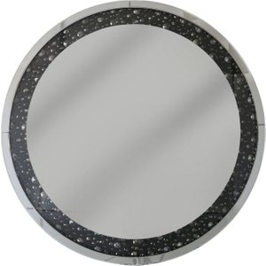 Deco Home Porto Black Gem Round Wall Mirror - 100cm X 4.3cm, Mirrored
