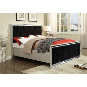 Glimmer Furniture Preston Mirrored And Black Fabric Bed, Black and Mirrored