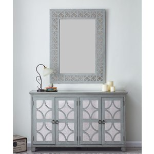 Glimmer Furniture Raleigh Grey Mirrored 4 Door Sideboard With Mirror