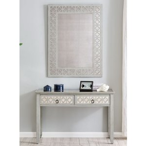 Glimmer Furniture Raleigh Grey Mirrored Console Table With Mirror