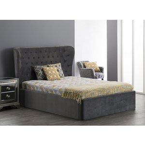 Glimmer Furniture Rayleigh Grey Velvet Fabric Bed, Grey Velvet