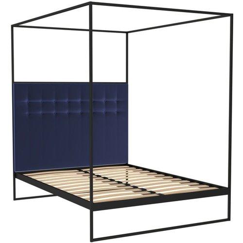 Space London Regents Black Metal Canopy Frame Bed With Midnight Blue Velvet Upholstered Headboard, Black Matt Powder Coat and Midnight Blue Velvet 4ft 6in Double :W 144cm x D 199cm x H 200cm5ft King Size :W 159cm x D 209cm x H 211.3cm
