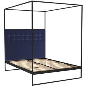 Space London Regents Black Metal Canopy Frame Bed With Midnight Blue Velvet Upholstered Headboard, Black Matt Powder Coat and Midnight Blue Velvet