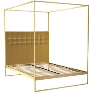 Space London Regents Brass Brushed Canopy Frame Bed With Mustard Headboard