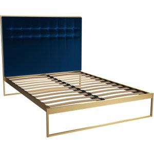 Space London Regents Brass Brushed Frame Bed With Midnight Blue Headboard, Midnight Blue and Brass Brushed