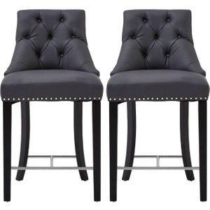 Premier Housewares Regents Park Bar Chair (pair) - Grey Faux Leather And Hevea Wood, Grey