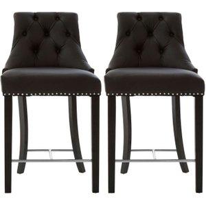 Premier Housewares Regents Park Black Faux Leather Bar Chair (pair), Black
