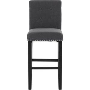 Premier Housewares Regents Park Dark Grey Linen Fabric Bar Chair, Dark Grey
