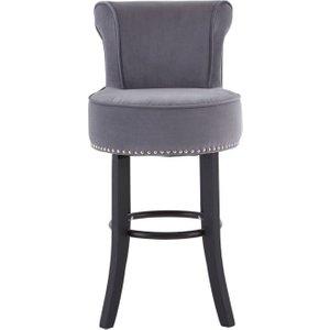 Premier Housewares Regents Park Grey Velvet Bar Chair, Grey