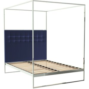 Space London Regents Polished Chrome Canopy Frame Bed With Midnight Blue Velvet Upholstered Headboard, Chrome Polished Stainless Steel and Midnight Blue Velvet