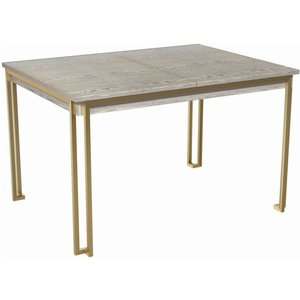 Space London Regents Weathered Oak 120cm-160cm Rectangular Extending Dining Table, Brass Brushed